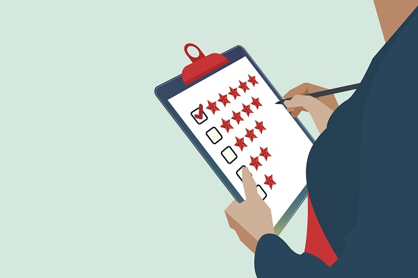 Review, Businessman hand giving five star rating, Feedback concept